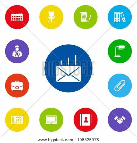 Collection Of Calendar, Address Book, Telephone And Other Elements.  Set Of 13 Work Icons Set.