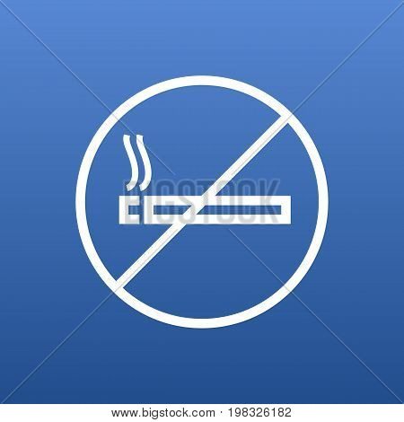 Vector No Smoking Element In Trendy Style.  Isolated Forbidden Outline Symbol On Clean Background.