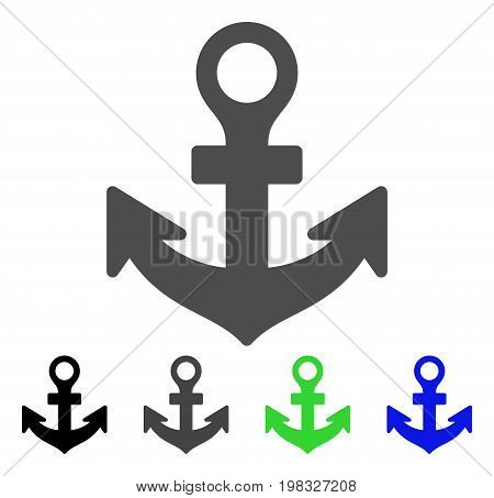 Anchor flat vector pictograph. Colored anchor, gray, black, blue, green icon variants. Flat icon style for web design.
