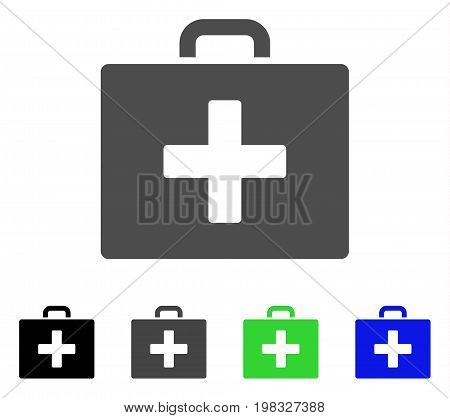 First Aid Bag flat vector illustration. Colored first aid bag, gray, black, blue, green pictogram variants. Flat icon style for web design.