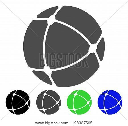 Internet Sphere flat vector pictograph. Colored internet sphere, gray, black, blue, green icon variants. Flat icon style for application design.