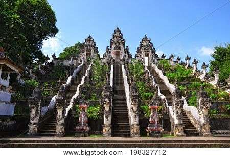 Pura Lempuyang, Bali, Indonesia - July 2017: The stairway to the Temple