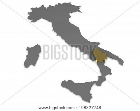 Italy 3d metallic map, whith basilicata region highlighted 3d render