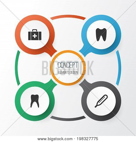 Medicine Icons Set. Collection Of Dental, Claw, Mercury And Other Elements