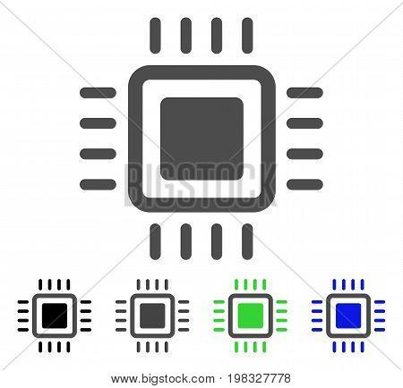 Processor flat vector icon. Colored processor, gray, black, blue, green icon versions. Flat icon style for graphic design.
