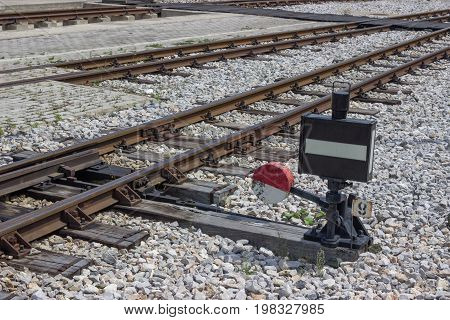 Vintage Railway Junction And Switch With Signal