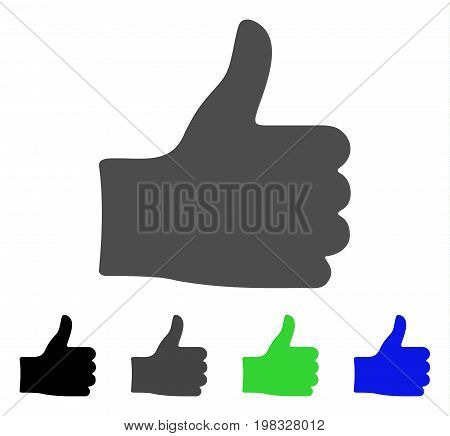 Thumb Up flat vector icon. Colored thumb up, gray, black, blue, green icon versions. Flat icon style for application design.