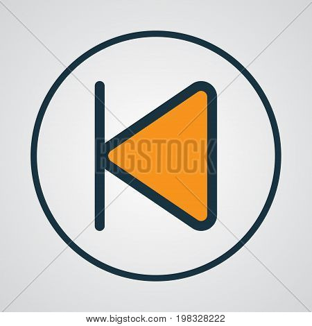 Premium Quality Isolated Start Element In Trendy Style.  Backward Colorful Outline Symbol.