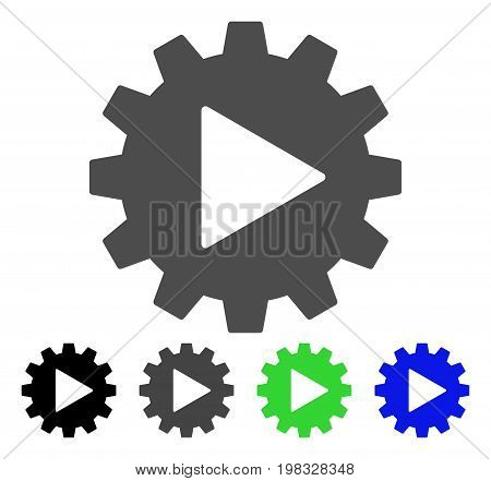 Automation Gear flat vector icon. Colored automation gear, gray, black, blue, green icon versions. Flat icon style for graphic design.