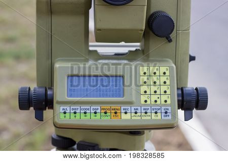 Close Up Of Digital Display On Total Station