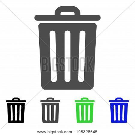 Dustbin flat vector pictograph. Colored dustbin, gray, black, blue, green pictogram variants. Flat icon style for web design.