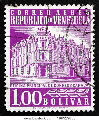 VENEZUELA - CIRCA 1958: a stamp printed in the Venezuela shows Main Post Office Caracas circa 1958