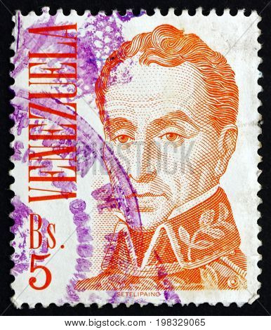 VENEZUELA - CIRCA 1976: a stamp printed in the Venezuela shows Simon Bolivar Liberator Revolutionary Portrait 2nd President of Venezuela 1813 - 1814 Portrait by Jose Maria Espinoza circa 1976