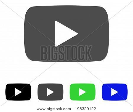 Play Video flat vector pictogram. Colored play video, gray, black, blue, green pictogram versions. Flat icon style for web design.
