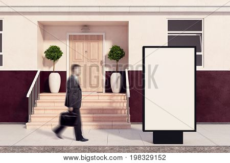 Side view of blurry businessman passing empty ad stand placed outside next to building with nice porch. Daylight. Advertisement concept. Mock up 3D Rendering