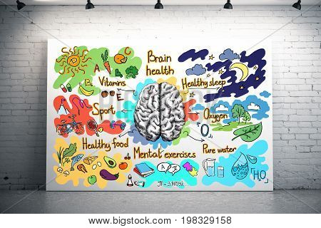 Bright brick interior with health sketch on illuminated banne. Healthy brain concept. 3D Rendering