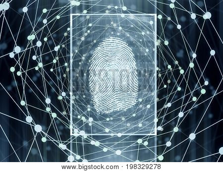 Abstract digital finger print background. Biometrics concept. 3D Rendering