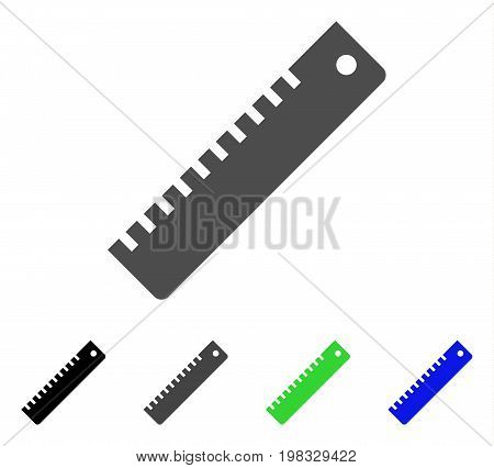 Ruler flat vector pictogram. Colored ruler, gray, black, blue, green icon variants. Flat icon style for web design.