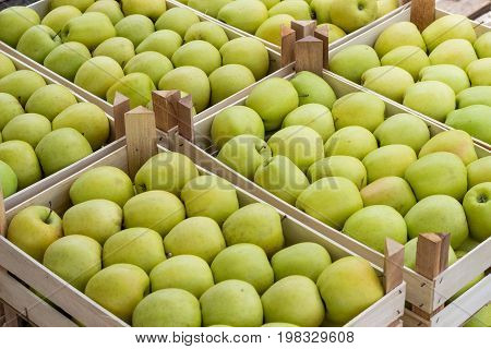 Farmers Market Apples In A Wooden Crates