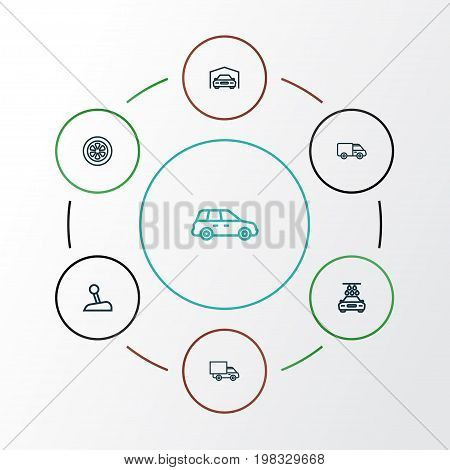 Car Outline Icons Set. Collection Of Washing, Caravan, Lorry And Other Elements