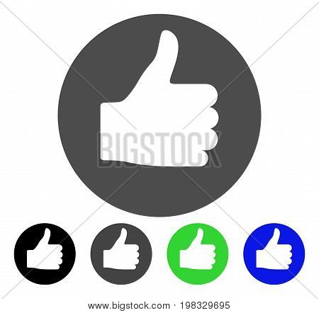 Thumb Up flat vector icon. Colored thumb up, gray, black, blue, green pictogram variants. Flat icon style for graphic design.