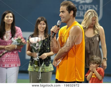 LOS ANGELES, CA. - JULY 27: Pete Sampras gives a speech after winning his exhibition match at the L.A. Tennis Open July 27, 2009 in Los Angeles.