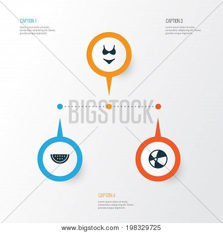 Season Icons Set. Collection Of Bikini, Melon, Balloon And Other Elements