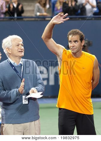 LOS ANGELES, CA. - JULY 27: Pete Sampras (R) thanks the crowd after winning his exhibition match at the L.A. Tennis Open July 27, 2009 in Los Angeles.