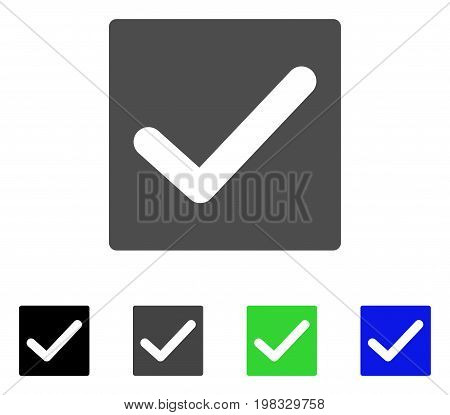 Valid Tick flat vector icon. Colored valid tick, gray, black, blue, green pictogram variants. Flat icon style for graphic design.