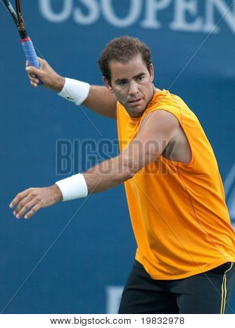 LOS ANGELES, CA. - JULY 27: Pete Sampras (picture) and Marat Safin play an exhibition match at the L.A. Tennis Open July 27, 2009 in Los Angeles.
