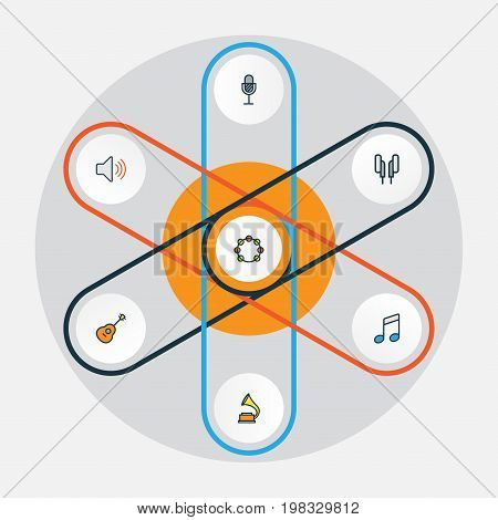Audio Colorful Outline Icons Set. Collection Of Volume, Strings, Headphones And Other Elements