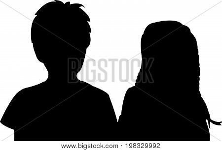 two friends together, black color silhouette vector