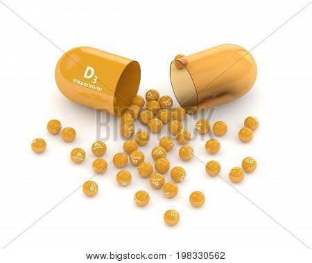 3D Render Of Vitamin D3 Pill With Granules Over White