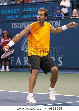 LOS ANGELES, CA. - JULY 27: Pete Sampras (pictured) and Marat Safin play an exhibition match at the L.A. Tennis Open on July 27, 2009 in Los Angeles, CA.