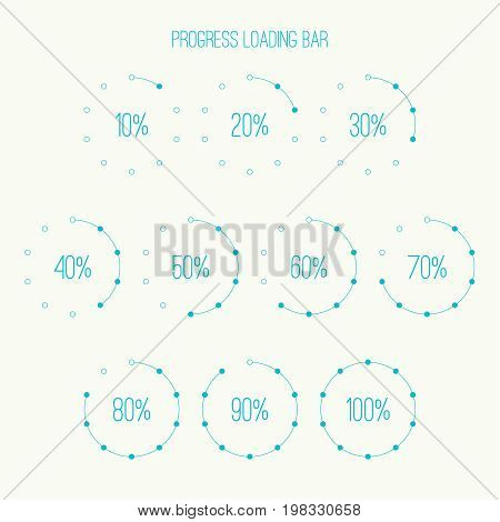 Set of vector downloaders. progress bar and loading icon. ui preloader web elements. Percent loading segments. Vector loading percentage. Round  circular loader bar