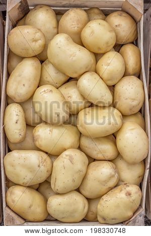 Farmers Market Potatoes In A Wooden Crate Background