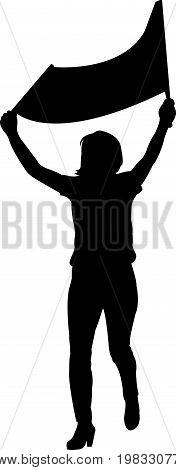 a woman srotestor, black color silhouette vector
