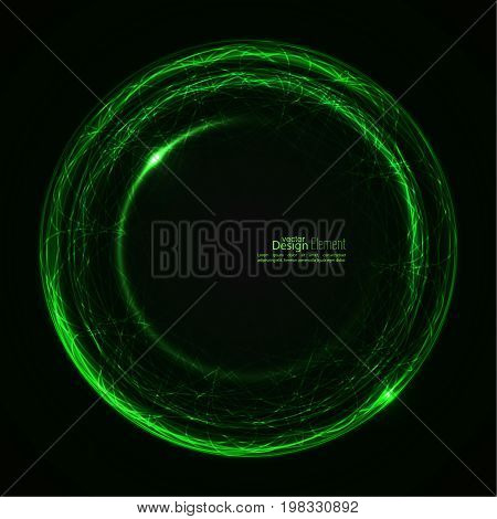 Abstract background with luminous swirling backdrop. Intersection curves. Glowing spiral. The energy flow tunnel.  Lights vector frame. green, jade, malachite.  quantum