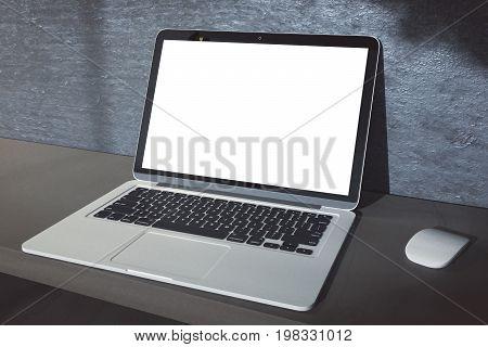 Empty White Laptop