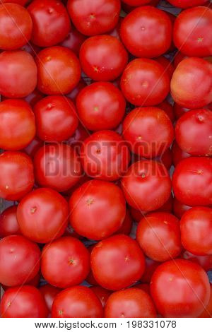 Farmers Market Tomato In A Wooden Crates,  Background