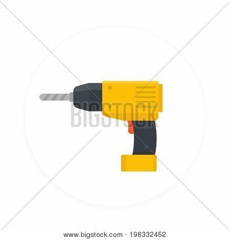 Electric screwdriver icon, flat style, eps 10 file, easy to edit