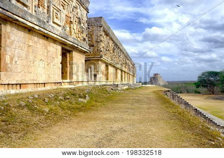 Governor's Palace and the Pyramid of the Magician in Uxmal Mexico