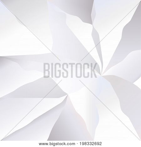 White crumpled paper abstract background. Geometric triangle Graphic element. Realistic 3D crumple paper with place for text. Vector High tech business concept, web banner, poster typography print.