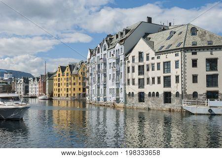 Norwegian city Alesund in summer, art nouveau style