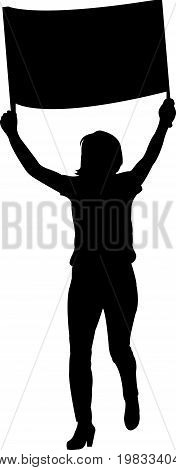 a woman protestor, black color silhouette vector