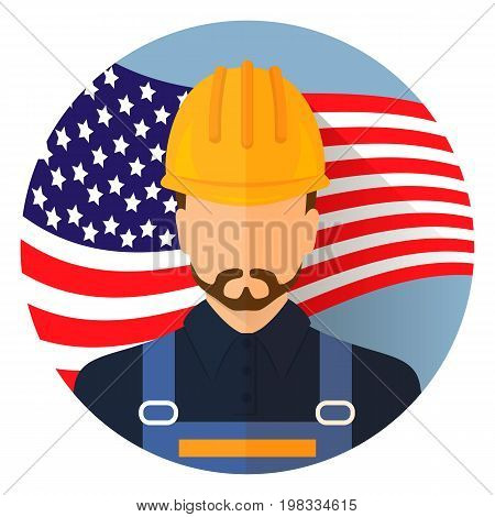 Avatar. Labor day, September 7, in the United States of America, American design, labor day. Logo worker. Labor day poster design. Stock vector.