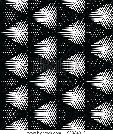 Halftone pattern background. Geo vector seamless pattern. Halftone triangle on a white background. Screen print texture. Monochrome geometric overlay texture
