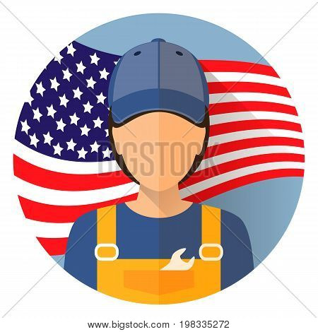 Avatar. Labor day, September 7, in the United States of America, American design, labor day. Logo worker in overalls woman. Labor day poster design. Stock vector.