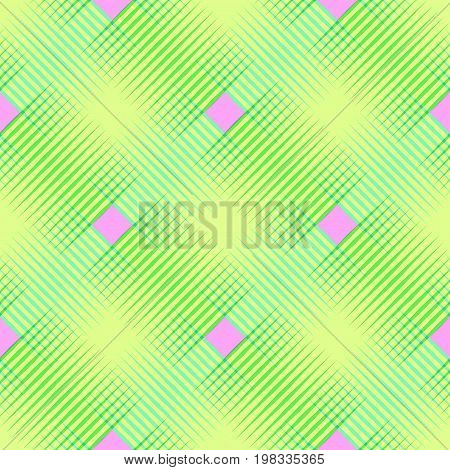 Seamless vector crosshatch pattern seamless checkered plaid pattern modern geo geometric background in green yellow pink seamless fabric print