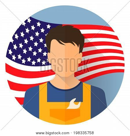 Avatar icon . Labor day September 7 in the United States of America American design labor day. Logo worker in overalls man. Labor day poster design. Stock vector.